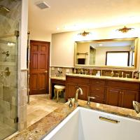 Wide view of the bathroom from the tub