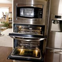 Double oven and convection microwave in one cabinet